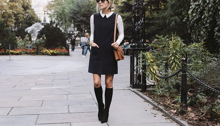 accessorize a black dress white blouse