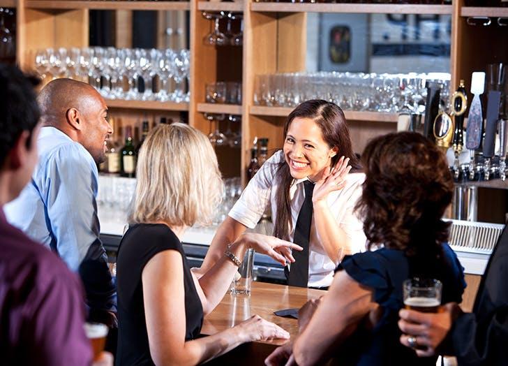 bartender smiling order