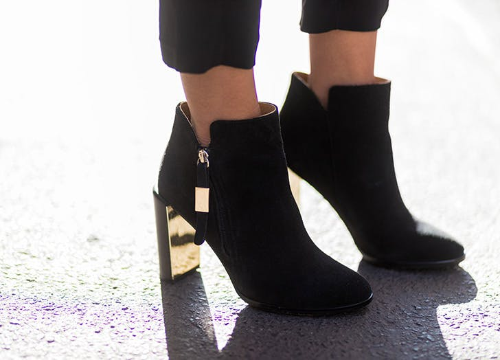 black ankle boots gold heel NY