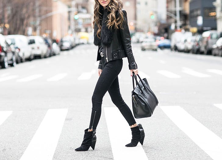 black leather moto jacket NY