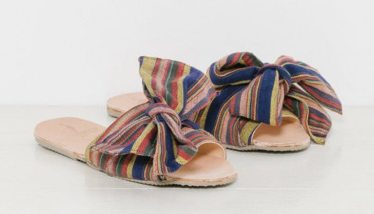 brother vellies bow stripe slide NY