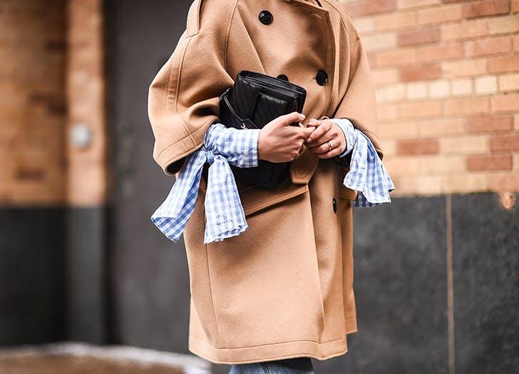 camel coat gingham sleeves NY