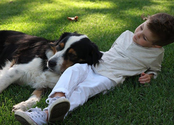 kid exercise dog
