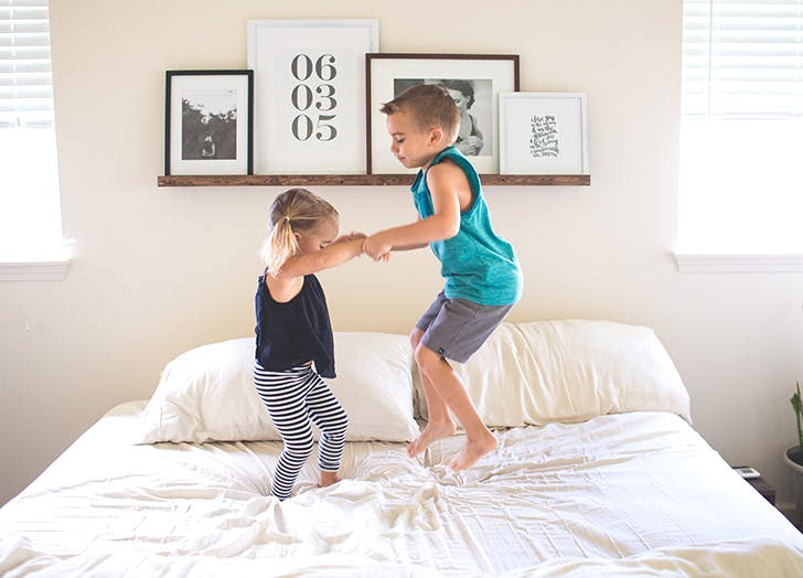 kid exercise jumping bed