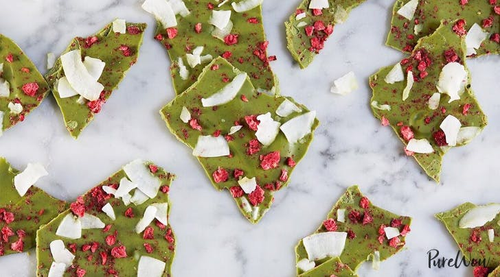 Matcha White-Chocolate Bark with Berries and Coconut