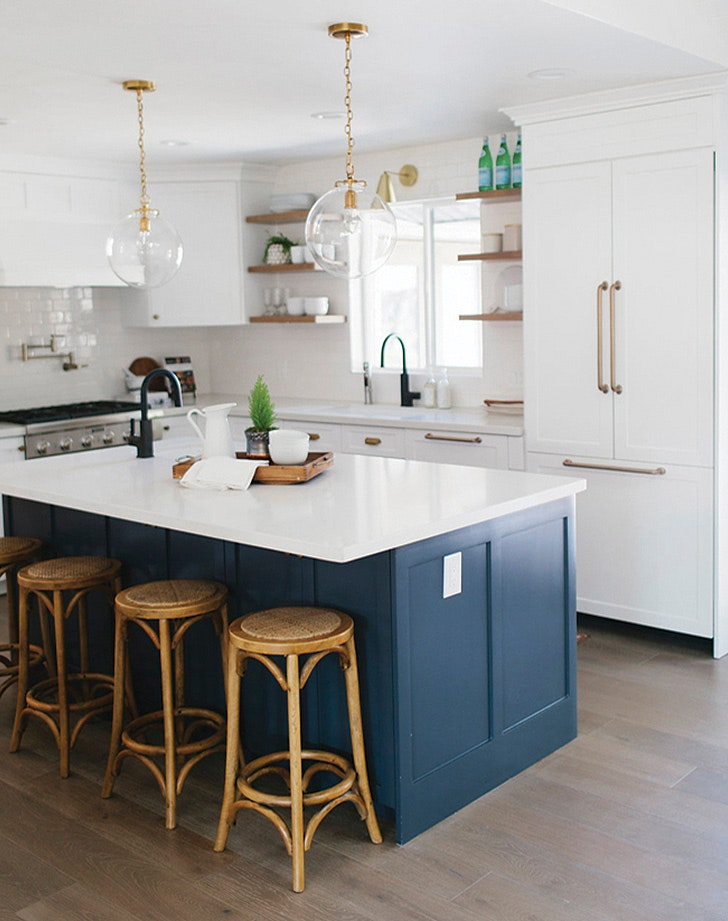 navy blue kitchens are gorgeous and trending purewow rh purewow com navy and white kitchen accessories navy and white kitchen ideas