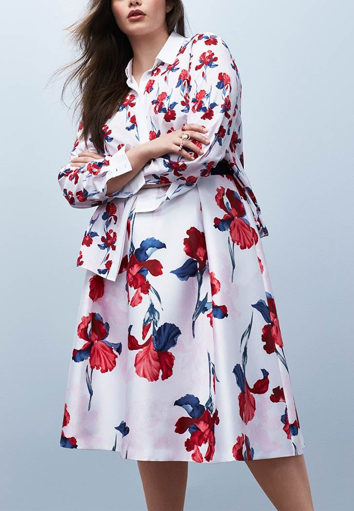 0f956beb530 A Floral Blouse and A-Line Skirt. Pattern mixing at its finest. Prabal  Gurung for Lane Bryant ...