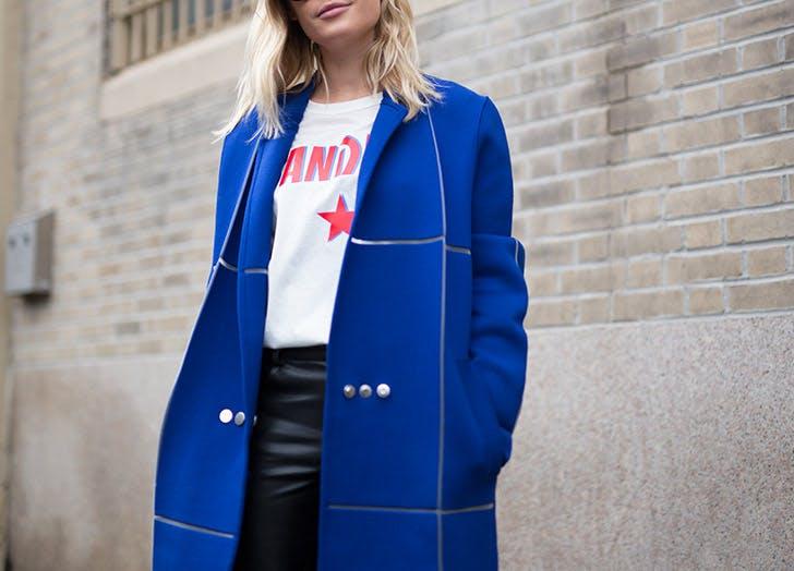sandro logo tee blue coat NY