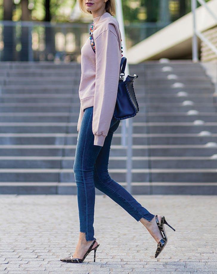 sweatshirt jeans heels