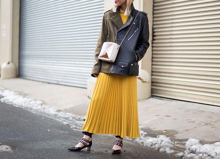yellow skirt leather jacket NY