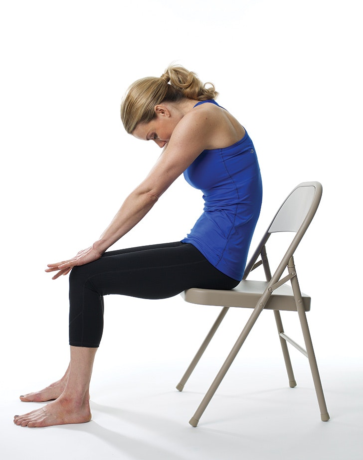 image relating to Printable Chair Yoga Poses named 12 Chair Yoga Poses for Annoyance and Situation - PureWow