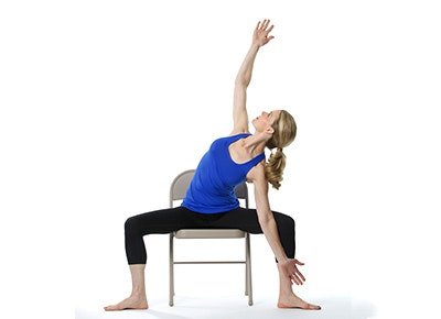 photograph relating to Printable Chair Yoga Routines known as 12 Chair Yoga Poses for Worry and Place - PureWow