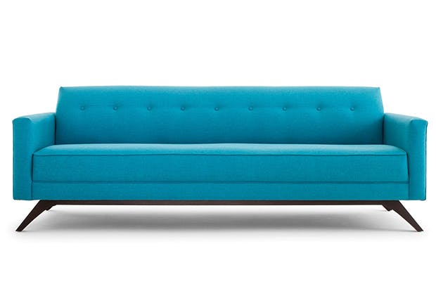 blue couch on white
