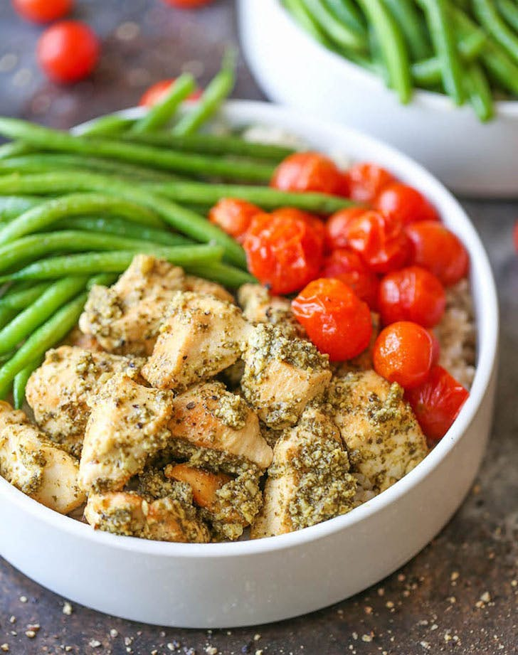 chicken pesto bowls vertical