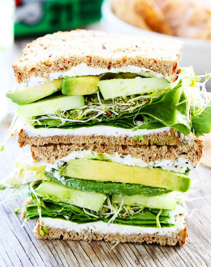 cucumber avocado sandwich vertical