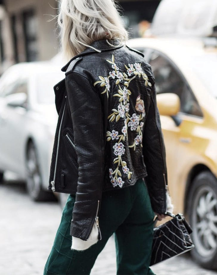 florals leather jacket
