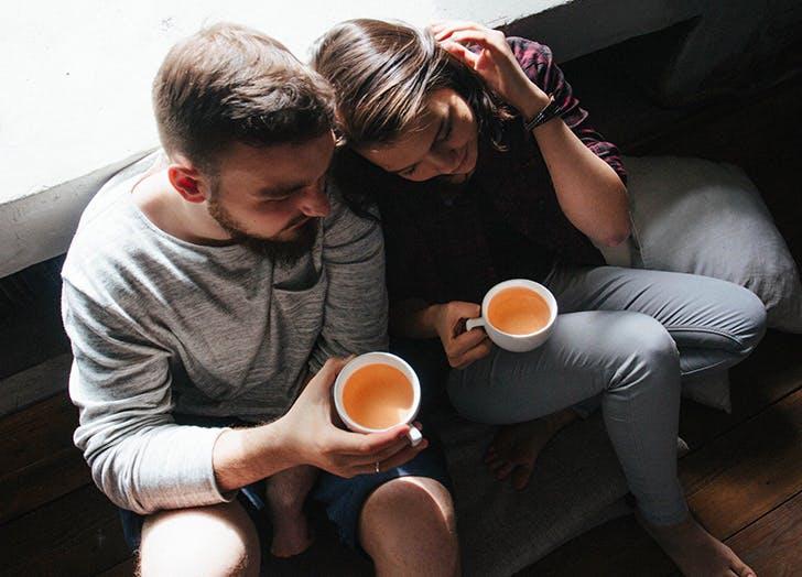 happy couple tea
