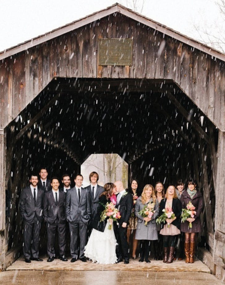rainy wedding barn