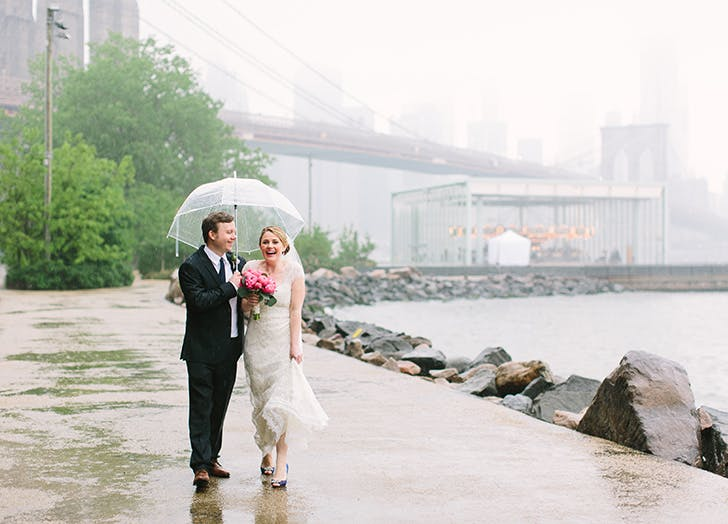 rainy wedding bridge