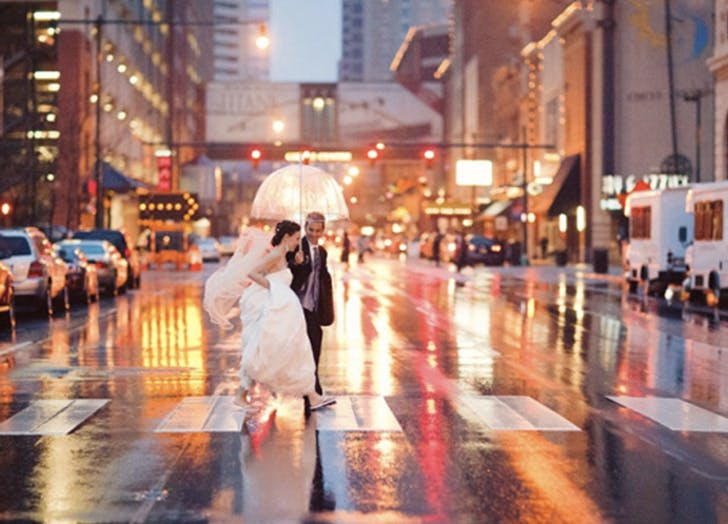 rainy wedding street