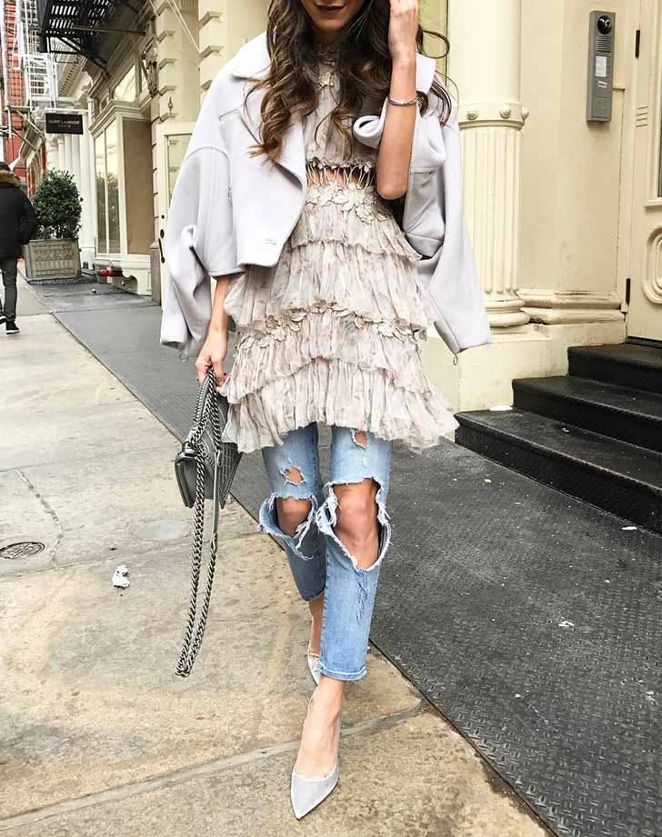ruffle dress ripped jeans NY