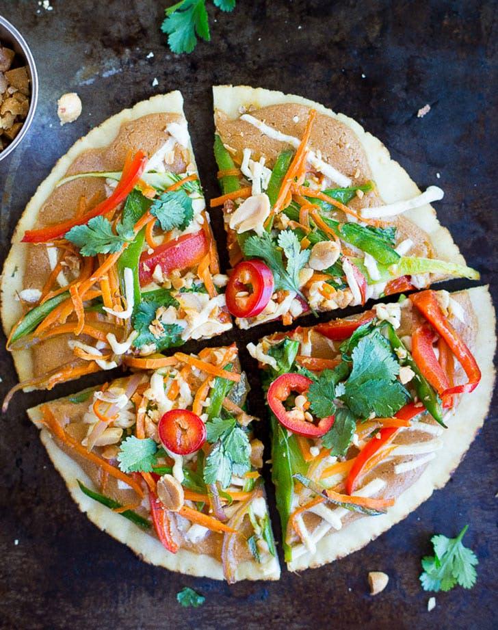 thai vegetable pita pizzas vertical