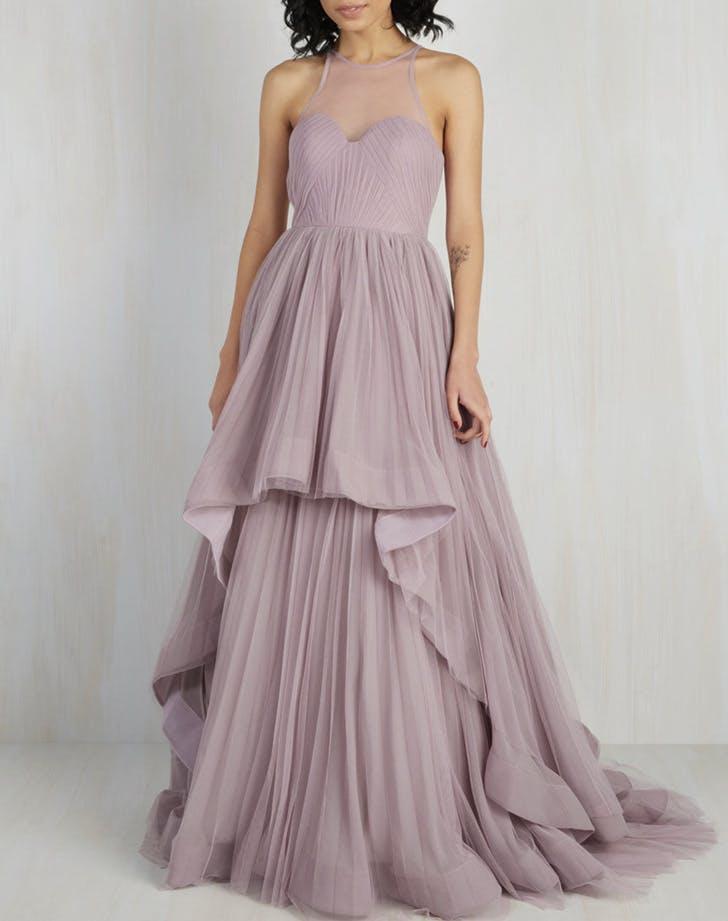 15 non white wedding dresses for non traditional brides for White and lilac wedding dress
