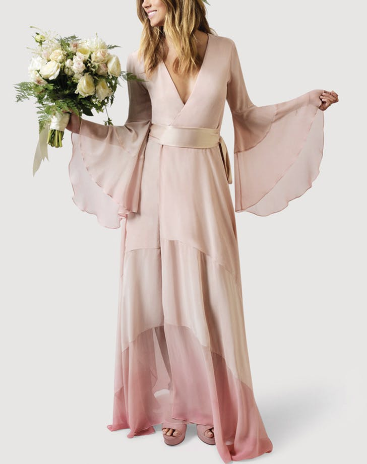 15 non white wedding dresses for non traditional brides purewow pink ombr junglespirit Choice Image