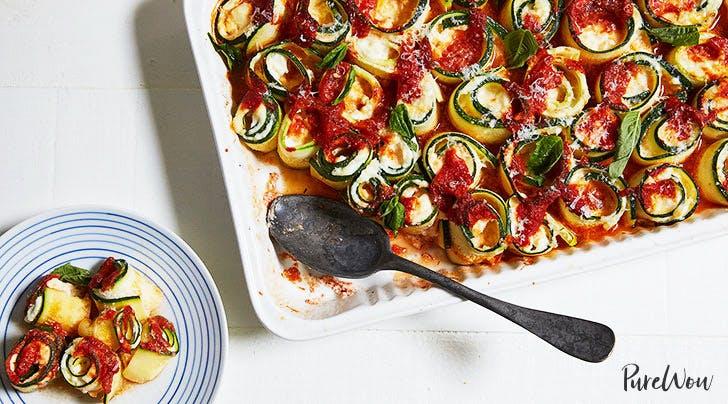 Baked Zucchini 'Ziti' Spirals with Mozzarella