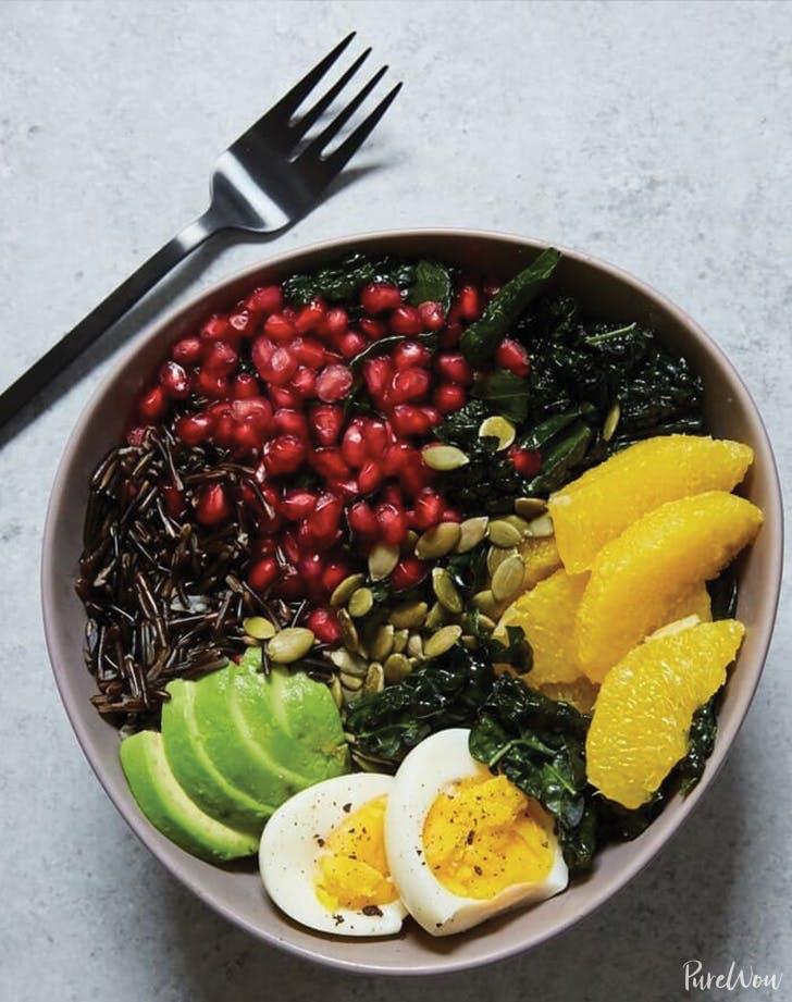 Buddha Bowl with Kale  Avocado  Orange and Wild Rice