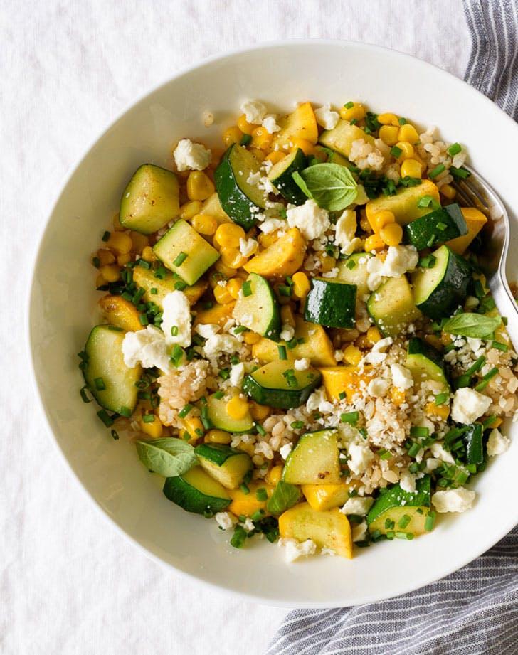 Fork Knife Swoon Sweet Corn Summer Squash Grain Salad Feta 01c