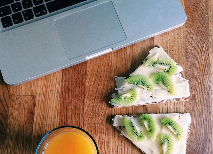 Healthy snack next to a computer