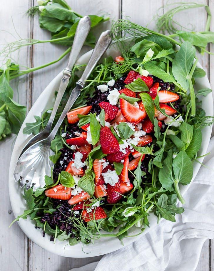 Strawberry Argula Basil Black Rice Salad Feasting at Home