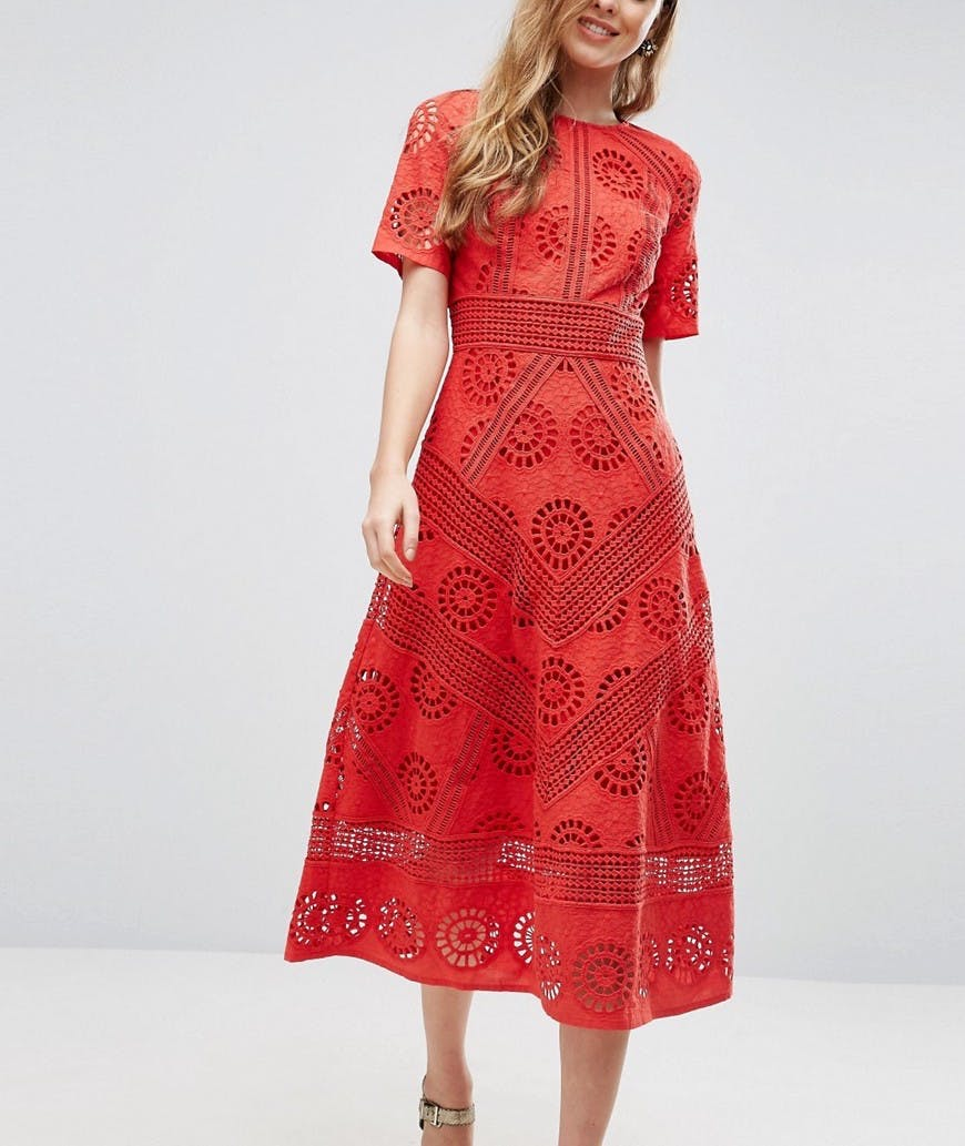 asos red eyelet lace dress spring