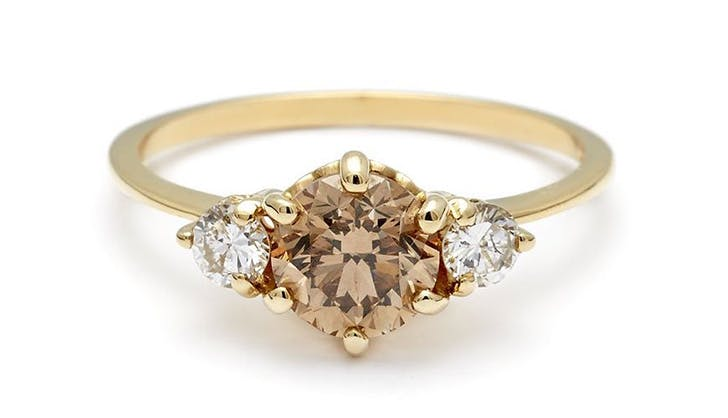 champagne anna sheffield colorful engagement rings
