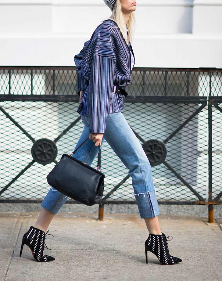 exaggerated cuff jeans NY