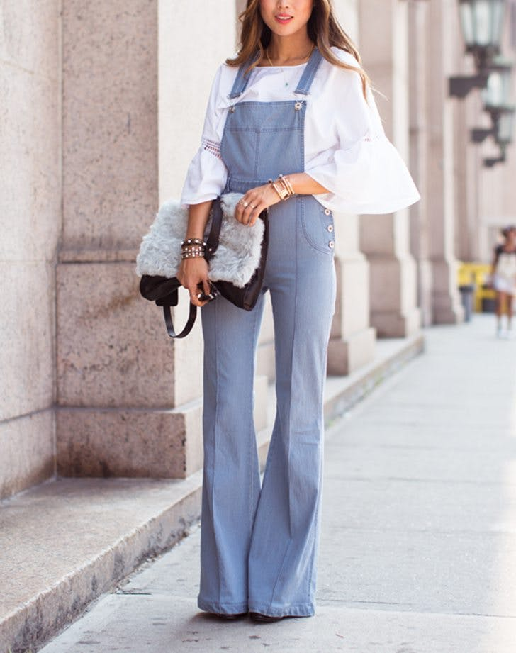 how to wear overalls bell sleeves