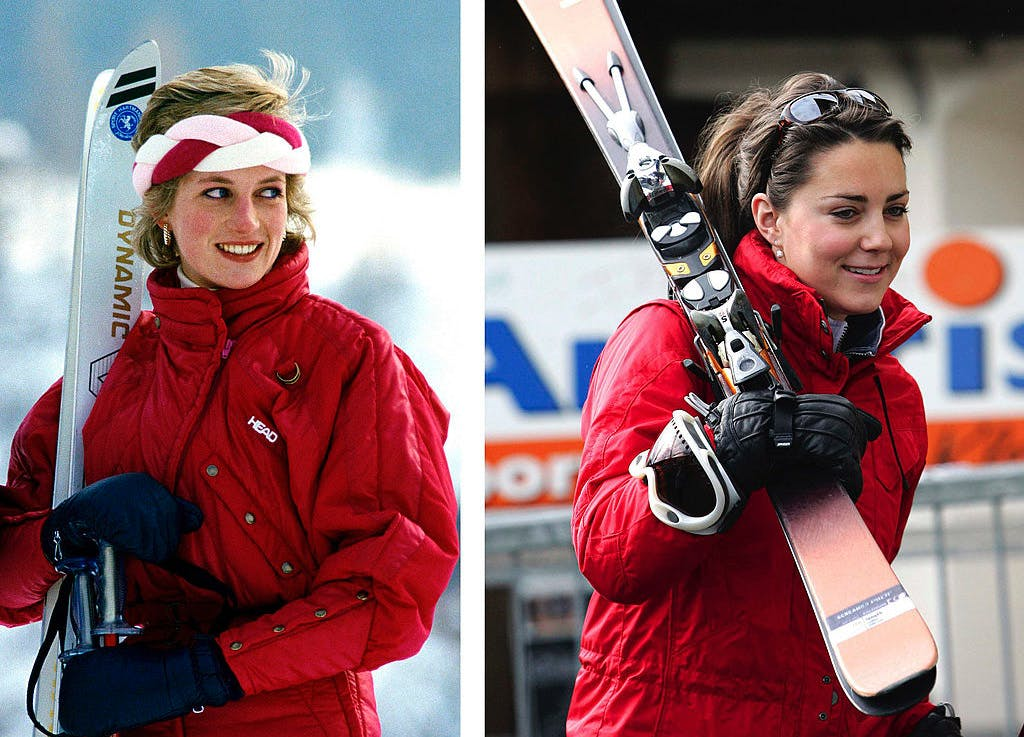 kate middleton princess diana look alike style Ski switzerland