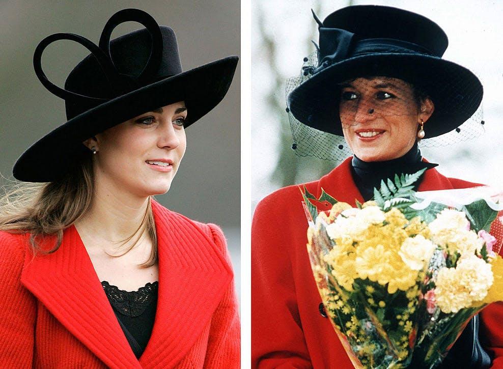 kate middleton princess diana look alike style black hat