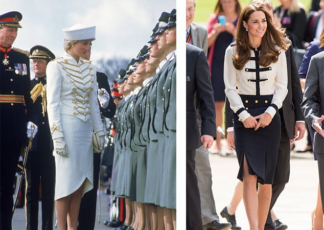 kate middleton princess diana look alike style military inspired outfits