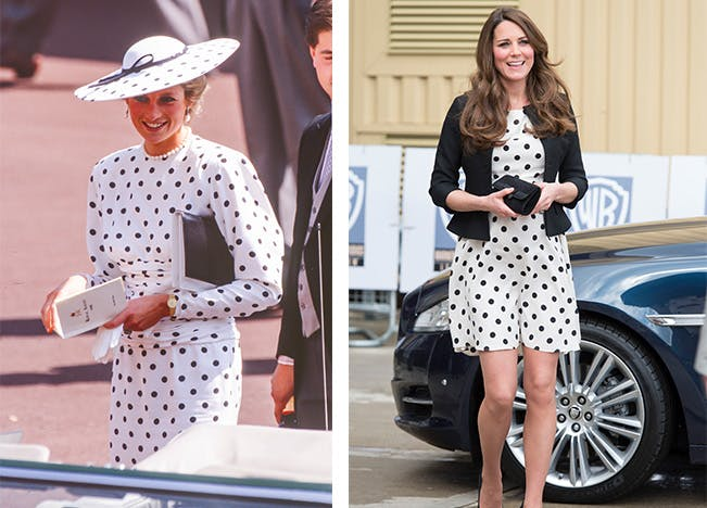 kate middleton princess diana look alike style polka dots