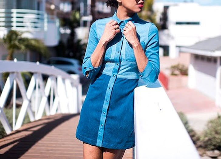 patchwork denim dress NY