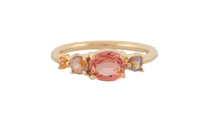 peach mociun colorful engagement rings