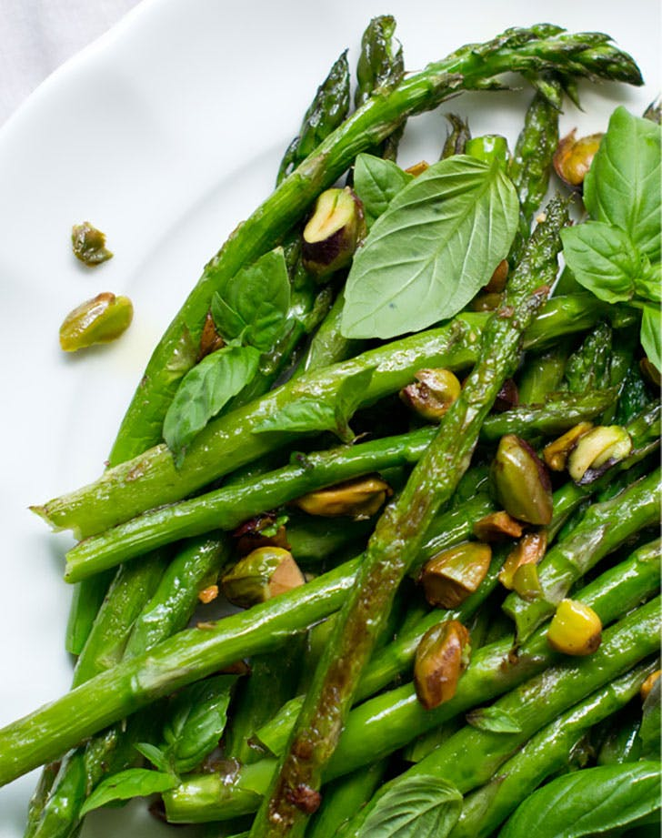 roasted asparagus with basil collage cook the story