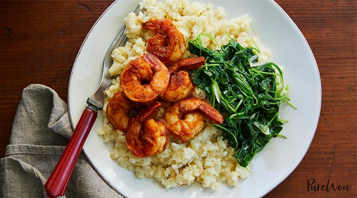 "Shrimp with Cauliflower ""Grits"" and Arugula"