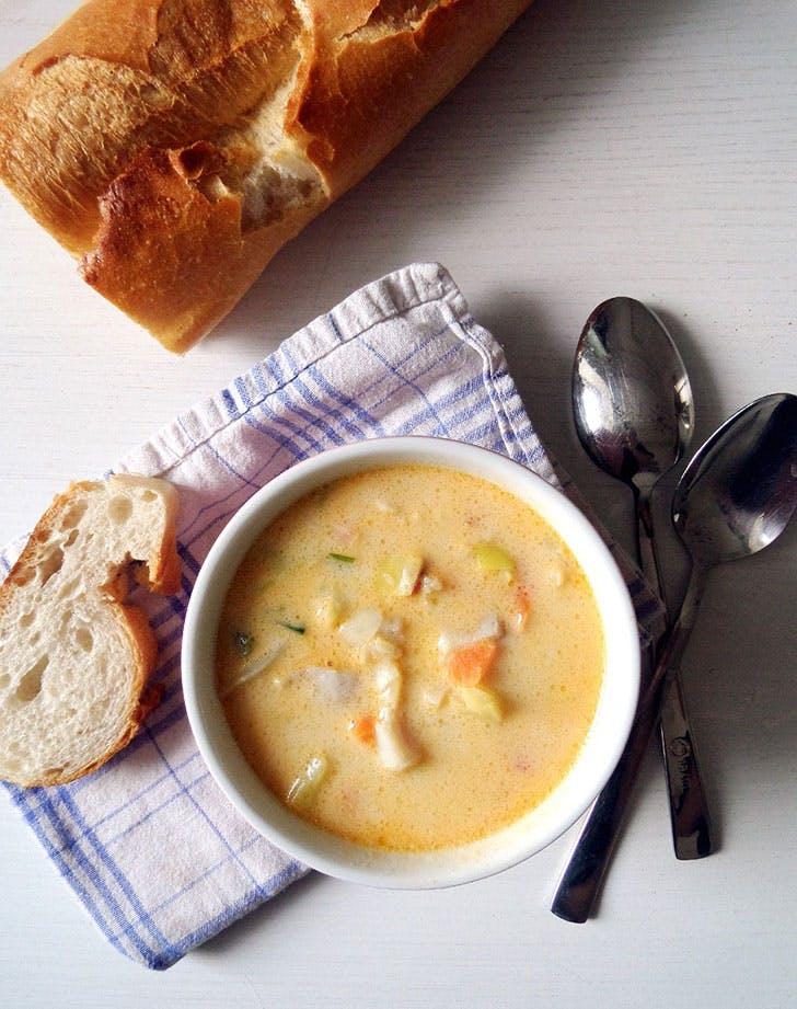 spring soup fishveggie