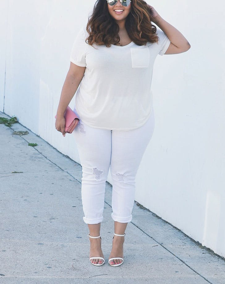 white jeans monochrome