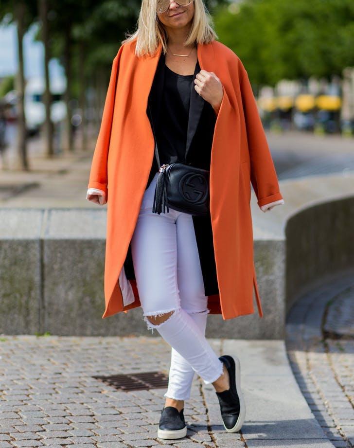 white jeans orangecoat