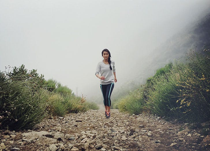 woman jogging mountain