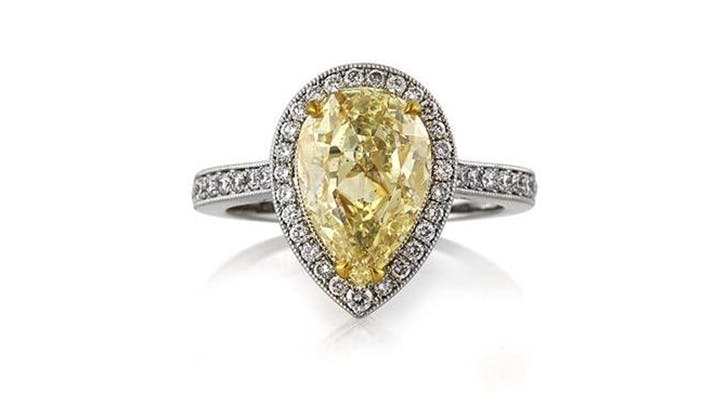 yellow mark broumand colorful engagement rings